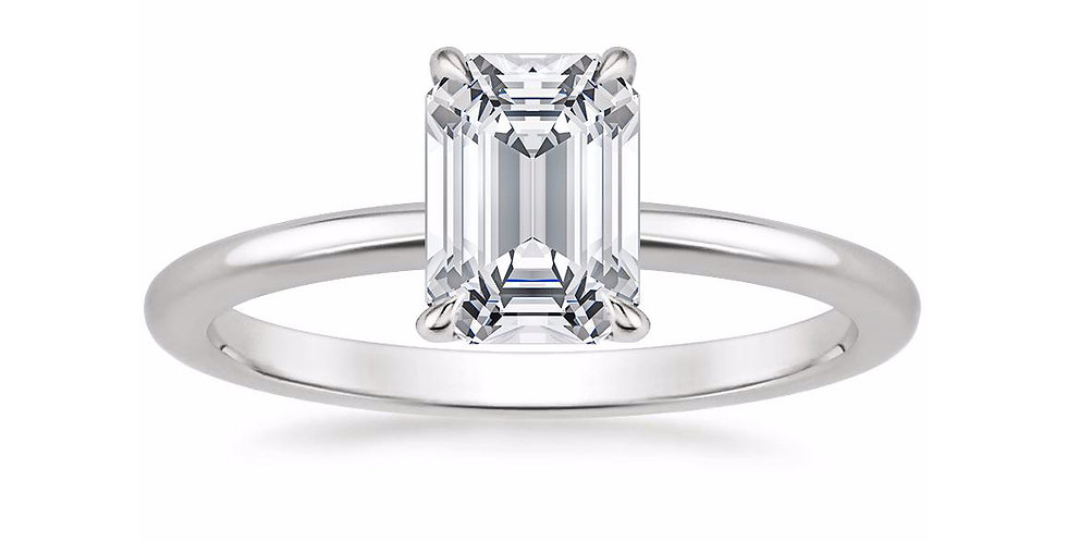 """LIA"" EMERALD DIAMOND SECRET HALO ENGAGEMENT RING"