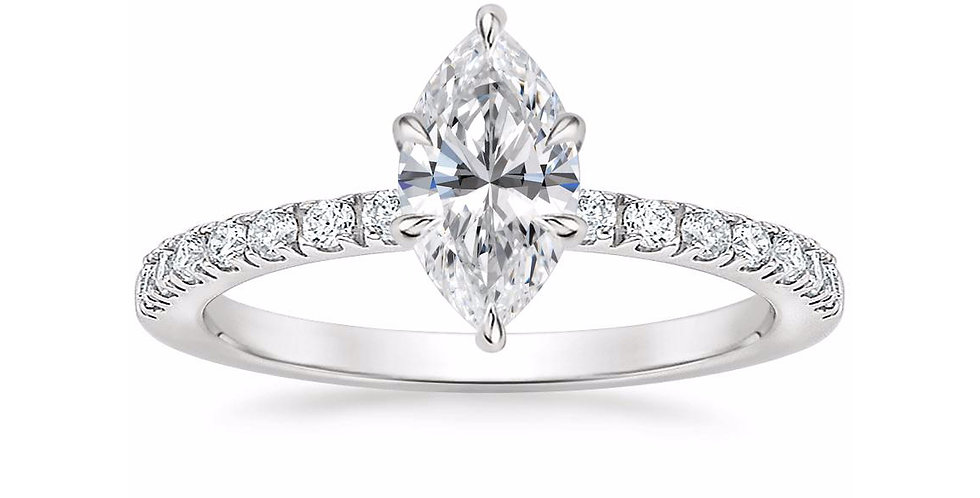 """LUNA"" MARQUISE DIAMOND PAVÉ SOLITAIRE ENGAGEMENT RING"