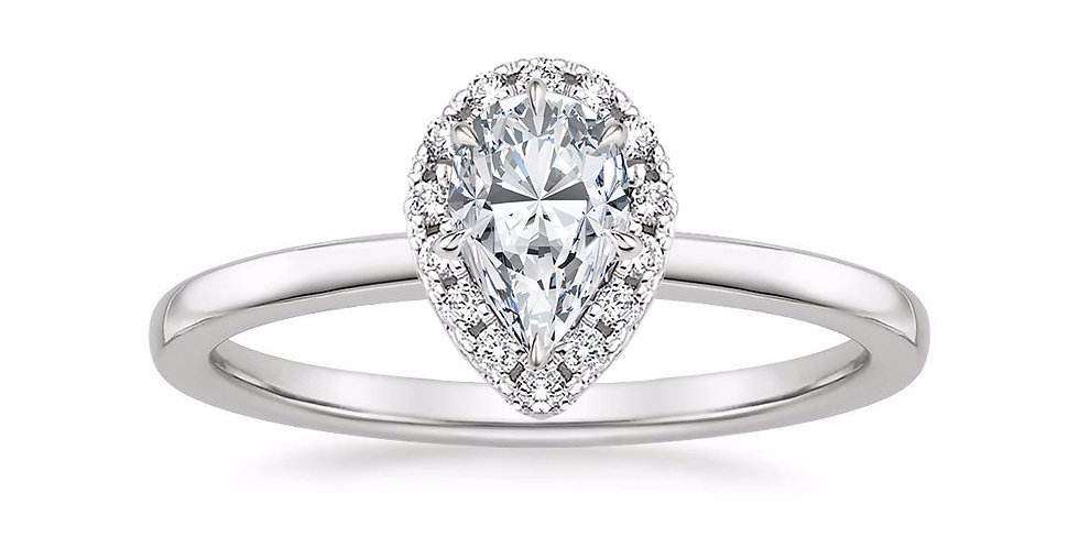 """LIZZIE"" PEAR DIAMOND HALO ENGAGEMENT RING"