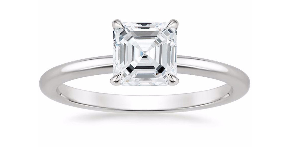 """LIA"" ASSCHER DIAMOND SECRET HALO ENGAGEMENT RING"