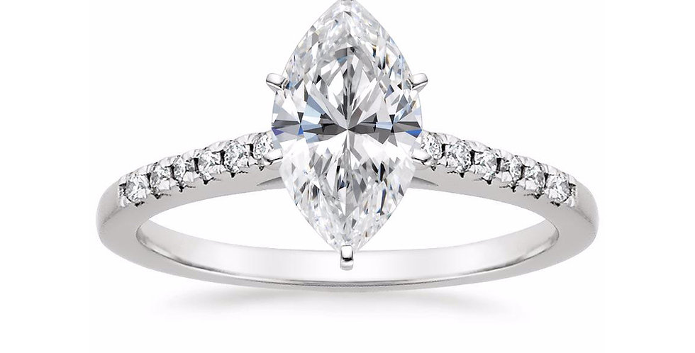 """LESSIE"" MARQUISE DIAMOND CATHEDRAL ENGAGEMENT RING"