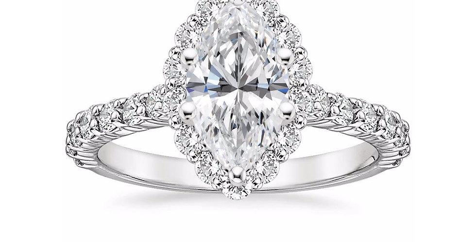"""""""LANA"""" MARQUISE DIAMOND HALO ENGAGEMENT RING"""