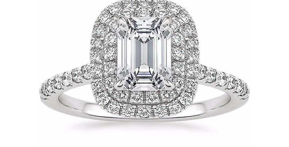"""LOUISE"" EMERALD DIAMOND DOUBLE HALO ENGAGEMENT RING"