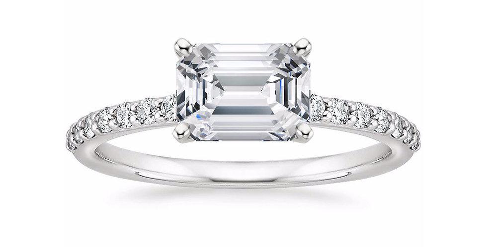 """LYDIA"" EMERALD DIAMOND EAST-WEST ENGAGEMENT RING"