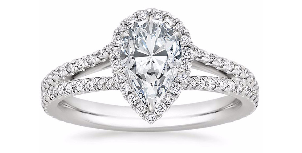 """LINDA"" PEAR DIAMOND HALO SPLIT SHANK ENGAGEMENT RING"