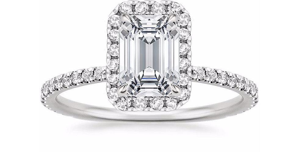 EMERALD DIAMOND HALO PAVÉ ENGAGEMENT RING