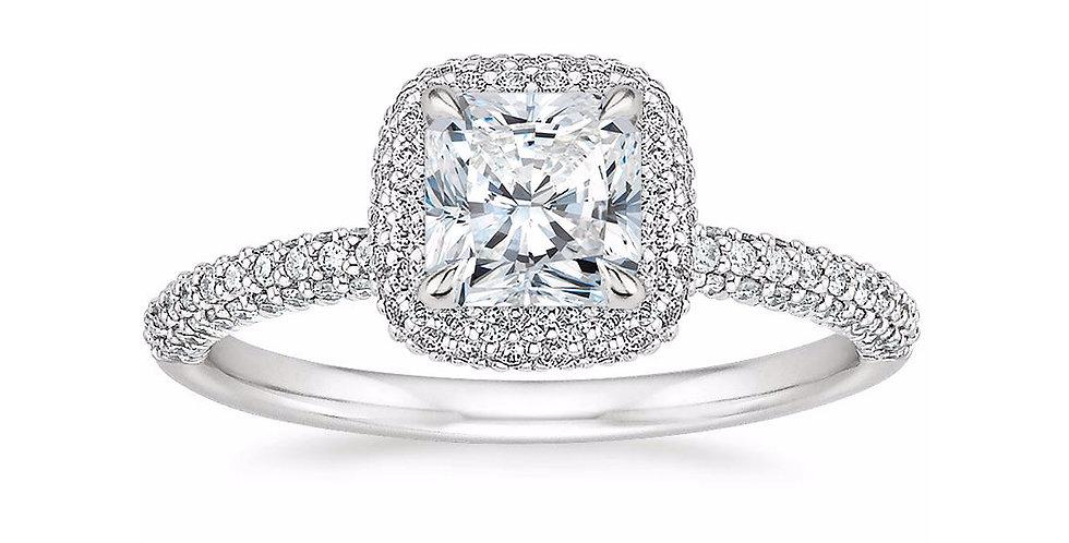 """LION"" RADIANT DIAMOND DOUBLE HALO ENGAGEMENT RING"