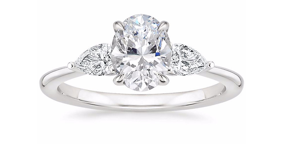 """LAYLA"" OVAL DIAMOND THREE STONE ENGAGEMENT RING"
