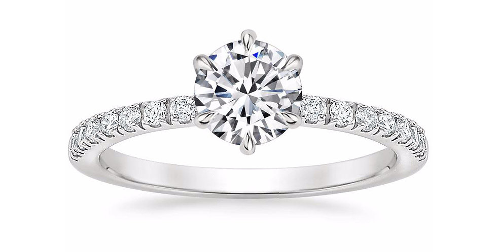 """LUNA"" ROUND DIAMOND PAVÉ SOLITAIRE ENGAGEMENT RING"