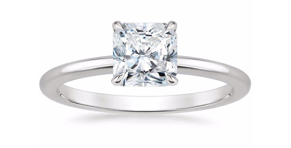 """LIA"" RADIANT DIAMOND SECRET HALO ENGAGEMENT RING"