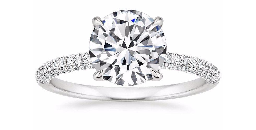 """""""LARA"""" ROUND DIAMOND MICRO-PAVÉ SOLITAIRE ENGAGEMENT RING"""