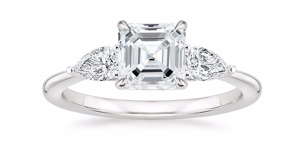"""LAYLA"" ASSCHER DIAMOND THREE STONE ENGAGEMENT RING"