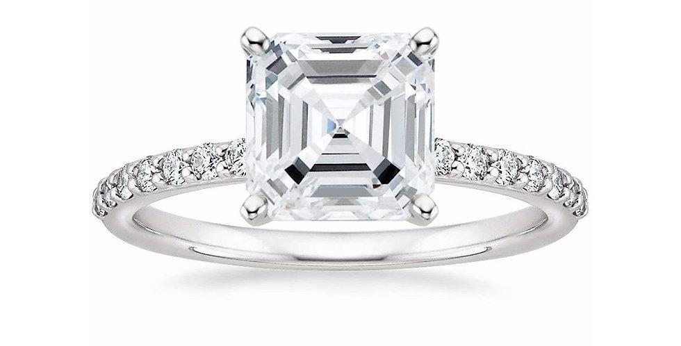 ASSCHER DIAMOND PAVÉ BAND SOLITAIRE ENGAGEMENT RING