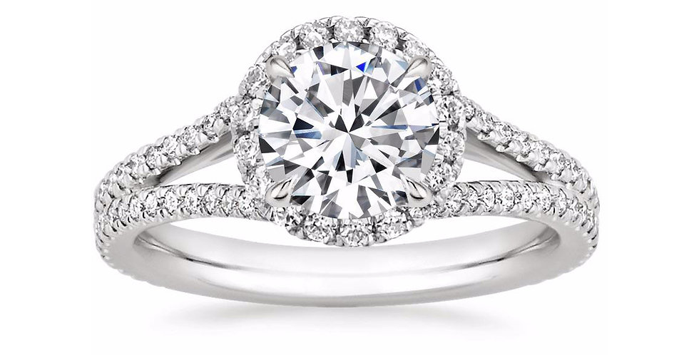 """LINDA"" ROUND DIAMOND HALO SPLIT SHANK ENGAGEMENT RING"