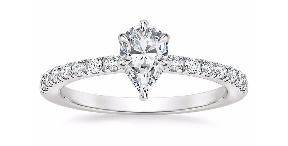 """LUNA"" PEAR DIAMOND PAVÉ SOLITAIRE ENGAGEMENT RING"