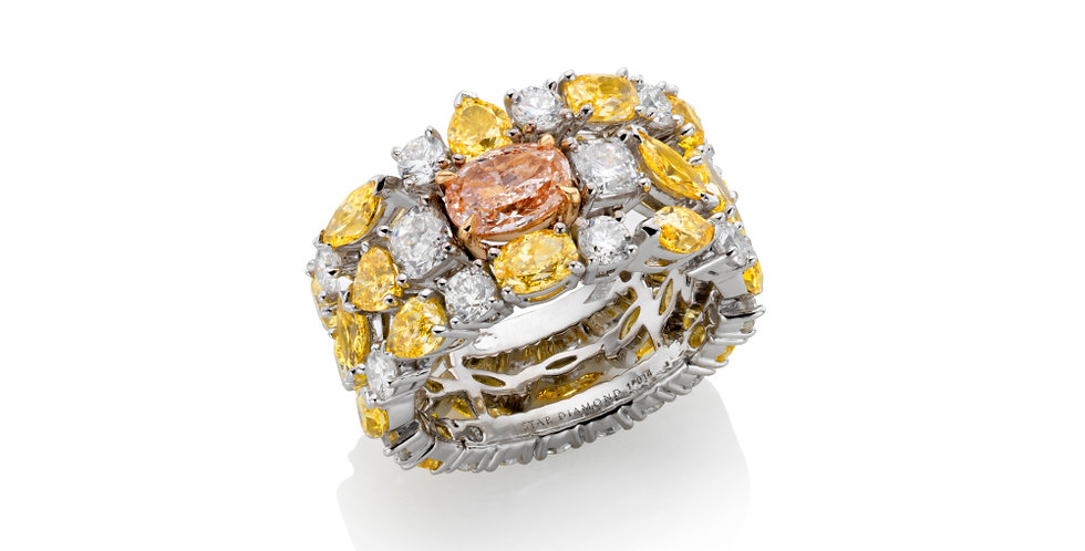 """RAINBOW"" WHITE AND GOLDEN YELLOW, ORANGE AND PINK DIAMOND RING"