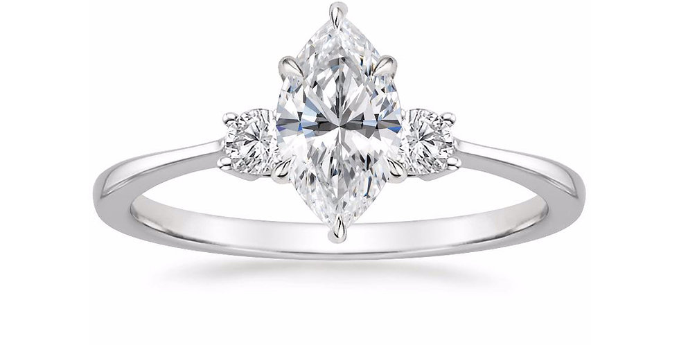 """LIZA"" MARQUISE DIAMOND THREE STONE ENGAGEMENT RING"