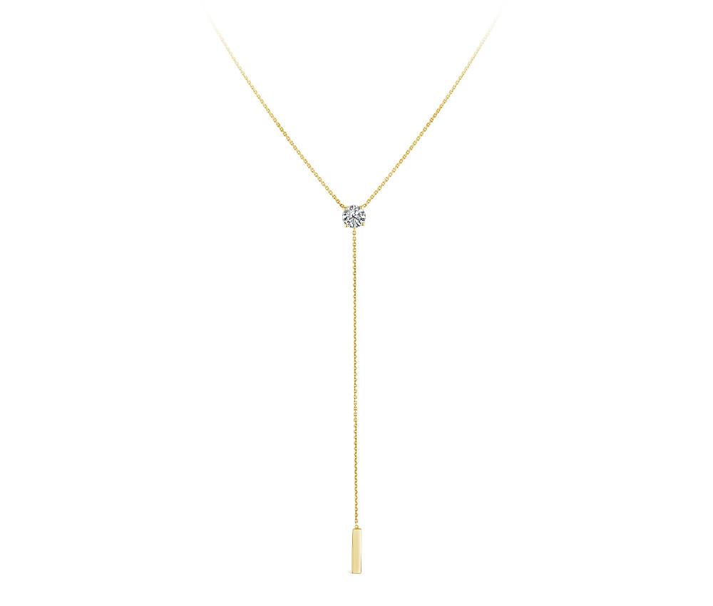 """Kayla"" Diamond Drop Necklace in 18K Yellow Gold"