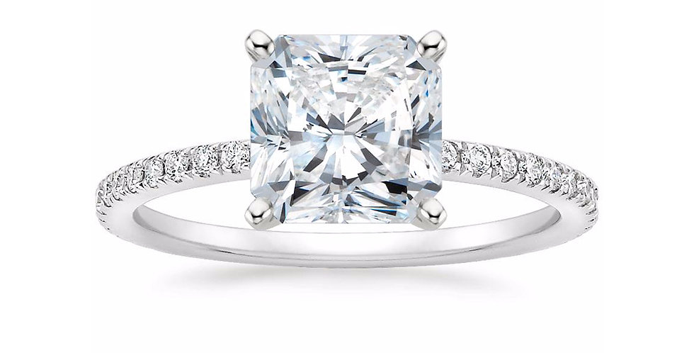 """LILY"" RADIANT DIAMOND PAVÉ BAND SOLITAIRE ENGAGEMENT RING"