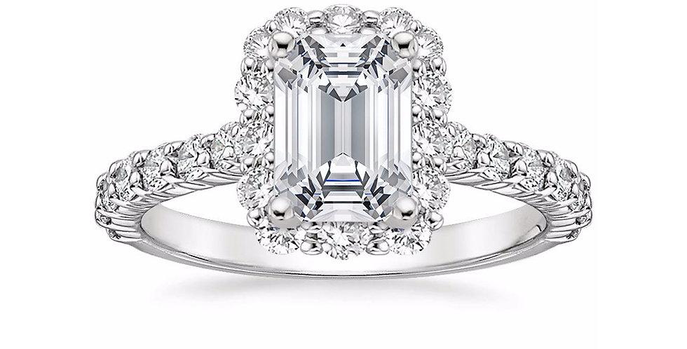 """LANA"" EMERALD DIAMOND HALO ENGAGEMENT RING"