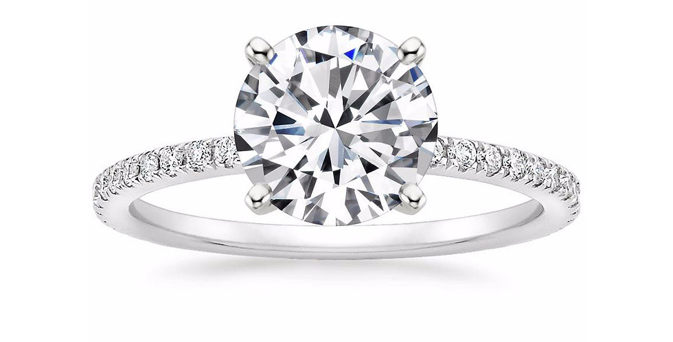 """""""LILY"""" ROUND DIAMOND PAVÉ BAND SOLITAIRE ENGAGEMENT RING"""