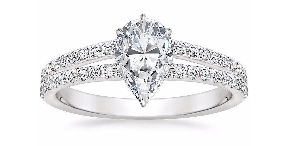 """LUISA"" PEAR DIAMOND SPLIT SHANK ENGAGEMENT RING"