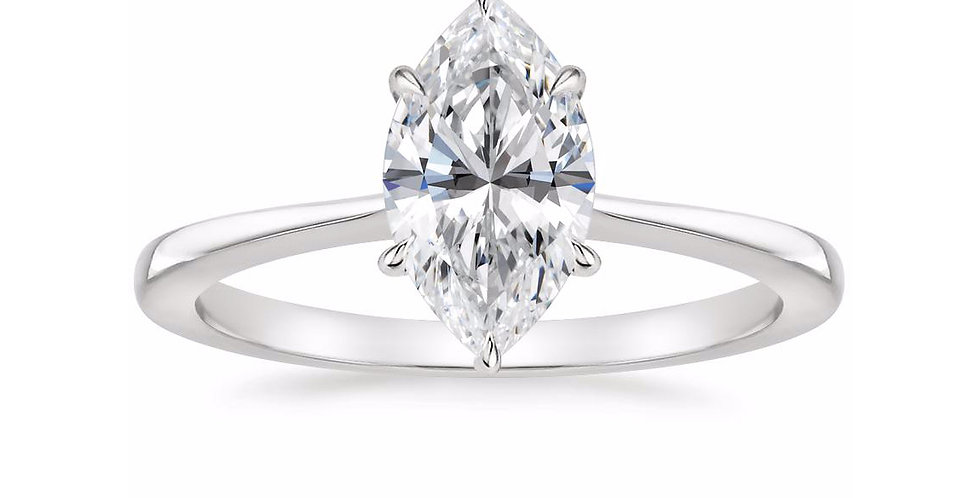 """""""LEAH"""" MARQUISE DIAMOND TAPERED ENGAGEMENT RING"""