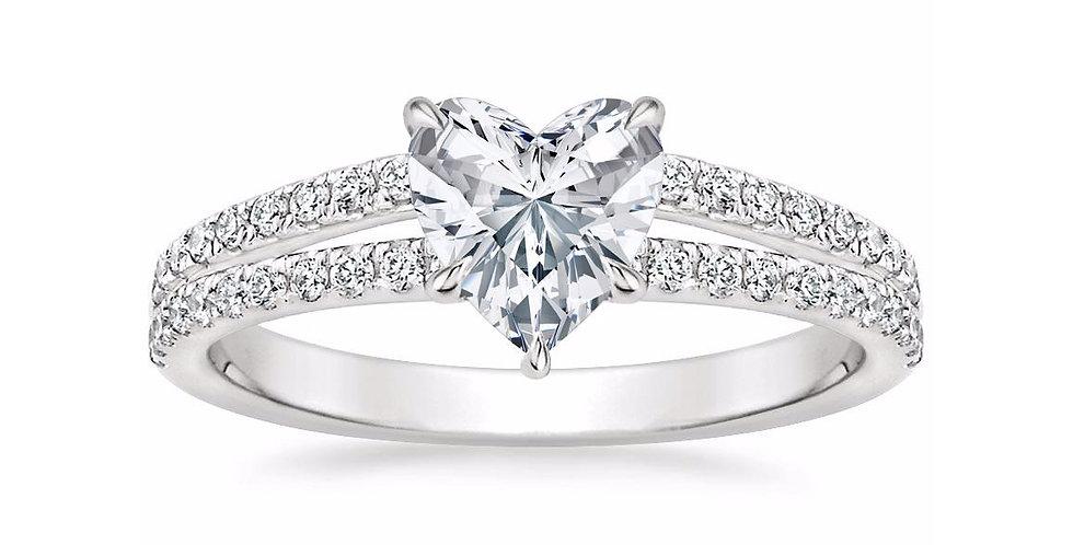 """""""LUISA"""" HEART DIAMOND SPLIT SHANK ENGAGEMENT RING"""