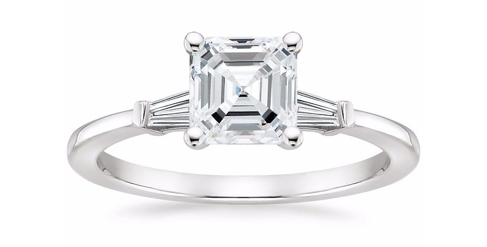 """LIV"" ASSCHER DIAMOND THREE STONE ENGAGEMENT RING"
