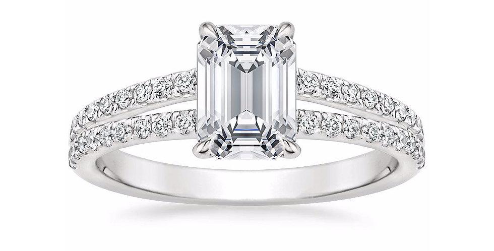 """LUISA"" EMERALD DIAMOND SPLIT SHANK ENGAGEMENT RING"
