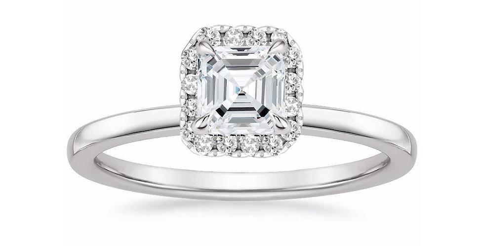 """""""LIZZIE"""" ASSCHER DIAMOND HALO ENGAGEMENT RING"""