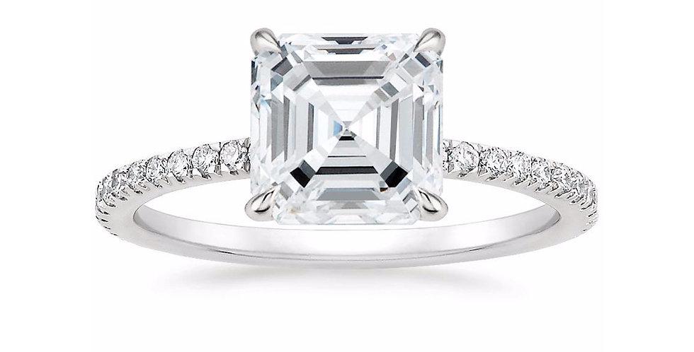 """""""LOLA"""" ASSCHER DIAMOND PAVÉ SOLITAIRE ENGAGEMENT RING"""