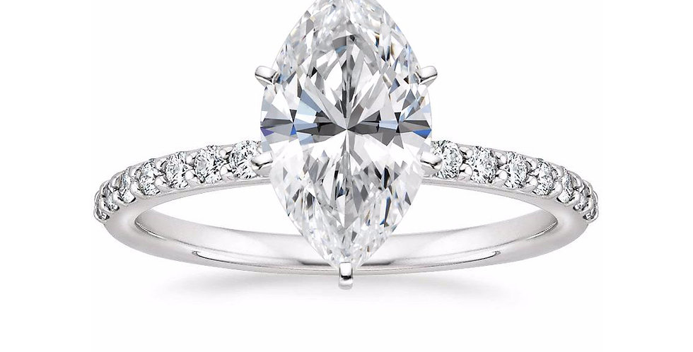 MARQUISE DIAMOND PAVÉ BAND SOLITAIRE ENGAGEMENT RING
