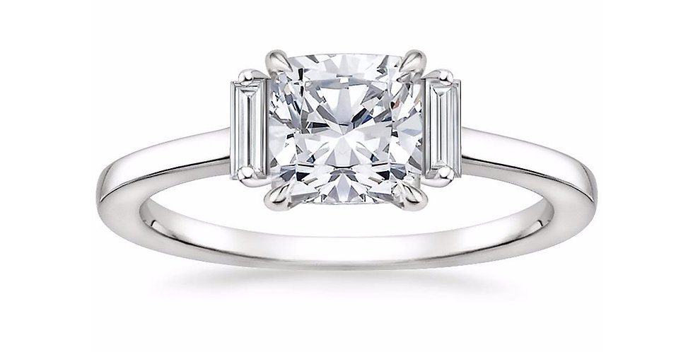 """LILAH"" CUSHION DIAMOND THREE STONE ENGAGEMENT RING"
