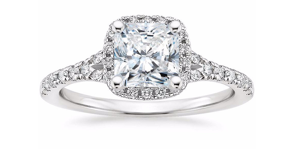 """LIANE"" RADIANT DIAMOND HALO SPLIT SHANK ENGAGEMENT RING"