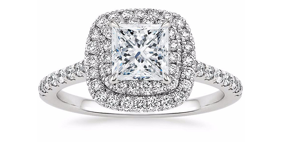 """LOUISE"" PRINCESS DIAMOND DOUBLE HALO ENGAGEMENT RING"