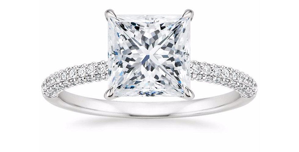 """""""LARA"""" PRINCESS DIAMOND MICRO-PAVÉ SOLITAIRE ENGAGEMENT RING"""