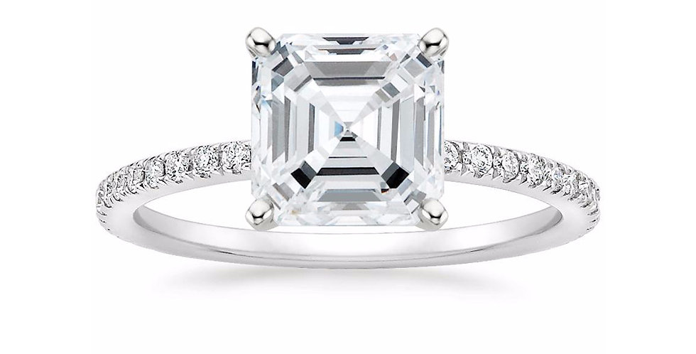 """LILY"" ASSCHER DIAMOND PAVÉ BAND SOLITAIRE ENGAGEMENT RING"