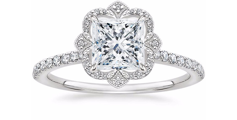 """LOTUS"" PRINCESS DIAMOND HALO PAVÉ ENGAGEMENT RING"