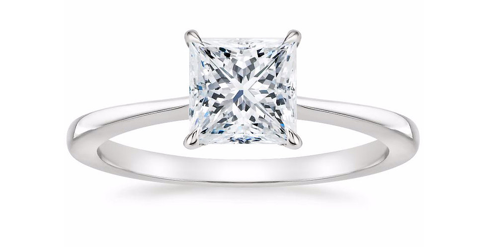 """LEAH"" PRINCESS DIAMOND TAPERED ENGAGEMENT RING"