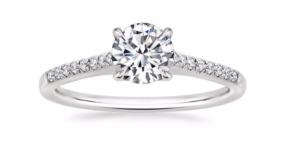 """LUCY"" ROUND DIAMOND CATHEDRAL SOLITAIRE ENGAGEMENT RING"