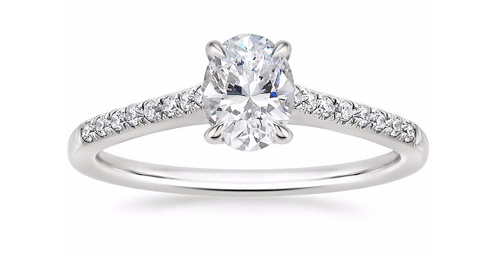 """LUCY"" OVAL DIAMOND CATHEDRAL SOLITAIRE ENGAGEMENT RING"