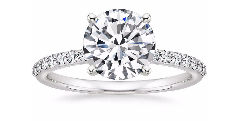 ROUND DIAMOND PAVÉ BAND SOLITAIRE ENGAGEMENT RING