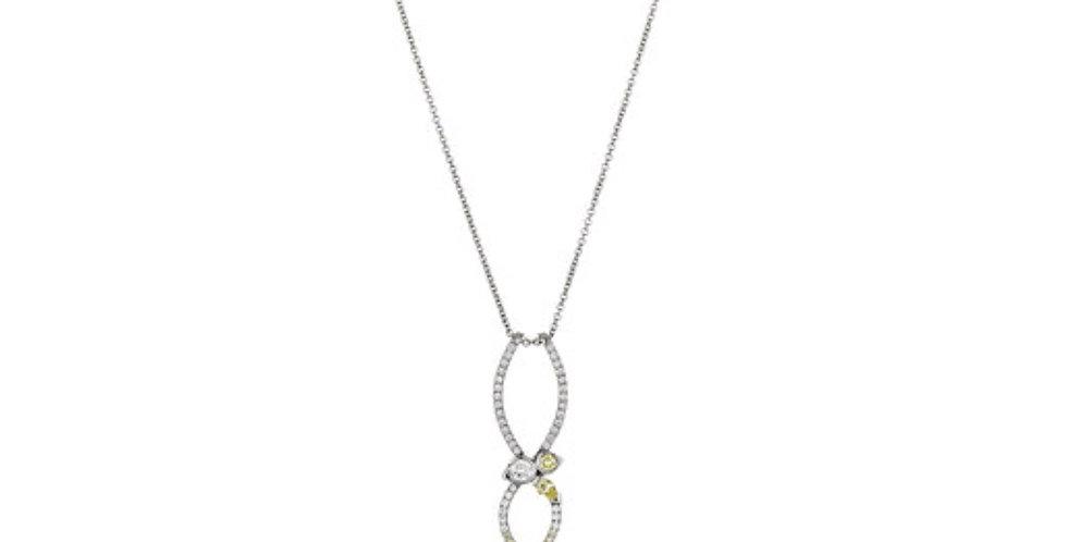 """STELLAR"" WHITE AND YELLOW DIAMOND NECKLACE"