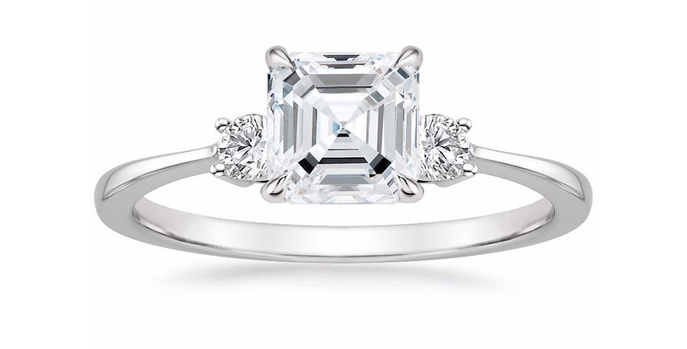"""LIZA"" ASSCHER DIAMOND THREE STONE ENGAGEMENT RING"