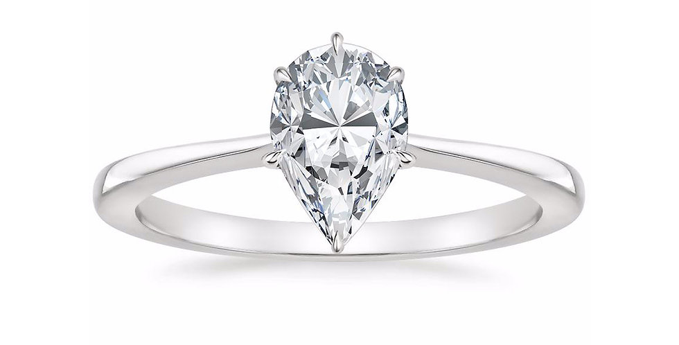 """""""LEAH"""" PEAR DIAMOND TAPERED ENGAGEMENT RING"""