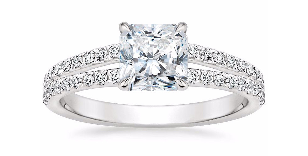 """LUISA"" RADIANT DIAMOND SPLIT SHANK ENGAGEMENT RING"