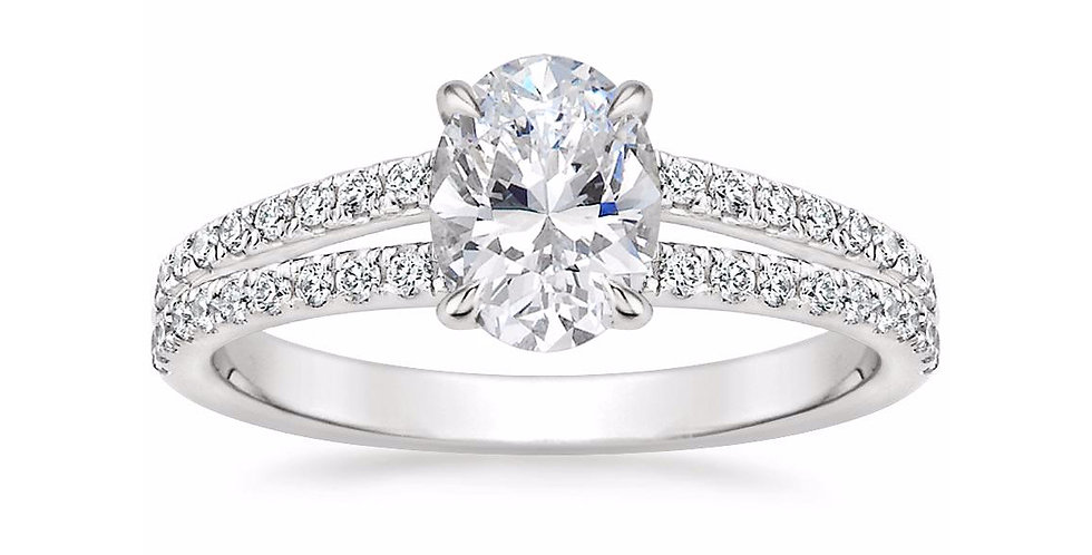 """LUISA"" OVAL DIAMOND SPLIT SHANK ENGAGEMENT RING"