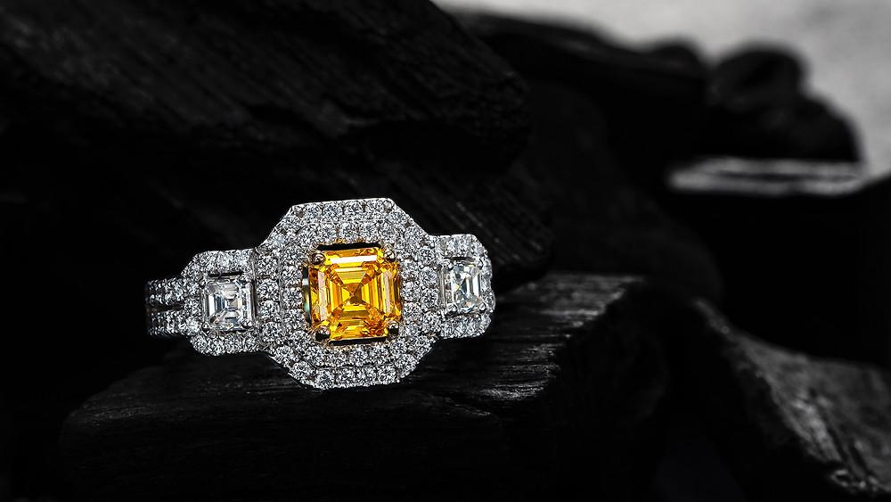 Asscher Cut Zimmi Diamond Engagement Ring