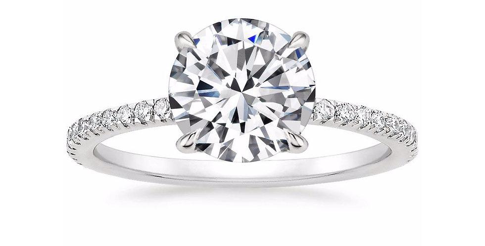 """LOLA"" ROUND DIAMOND PAVÉ SOLITAIRE ENGAGEMENT RING"